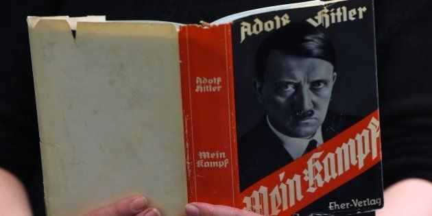 A German edition of Adolf Hitler's 'Mein Kampf' (My Struggle) is pictured at the Berlin Central and Regional...