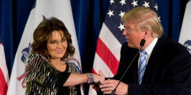 Former Alaska Gov. Sarah Palin, left, endorses Republican presidential candidate Donald Trump during...