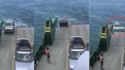 フェリーから車が滑り落ちる光景を、観光客たちはなす術もなく見ていた(動画)