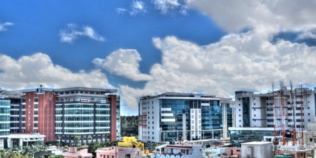 This is Bagmane Tech Park, Bangalore. The view is from the terrace of my apartment. My first attempt...