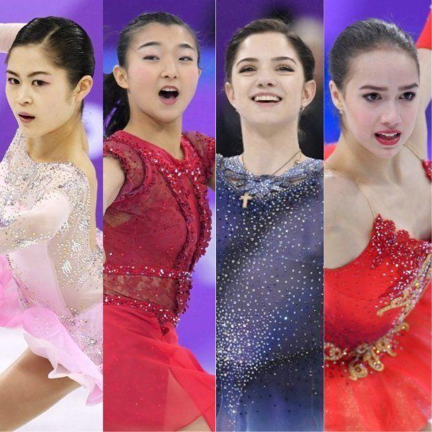 (左から)宮原知子、坂本花織、メドベージェワ、ザギトワの4選手