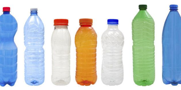 Multicolored Plastic bottles isolated on white