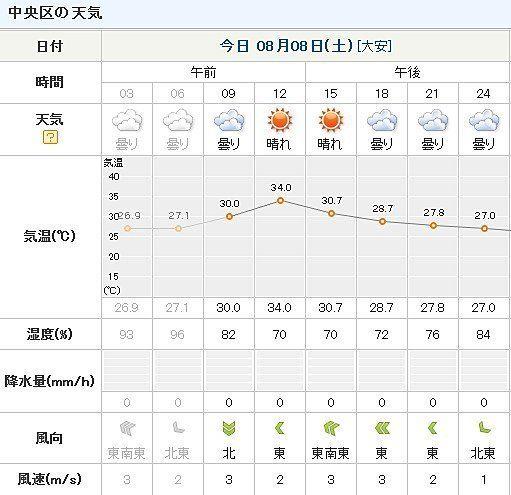 東京湾大華火祭の天気