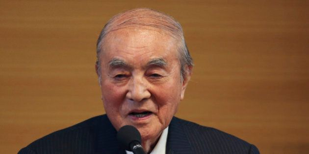 Former Japanese Prime Minister Yasuhiro Nakasone delivers a speech during the annual meeting on Japan's...