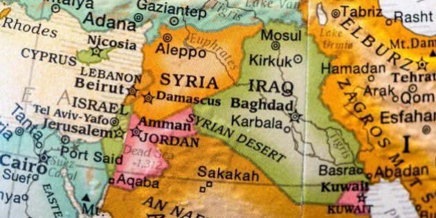 small desktop world globe showing Syria,Israel,lebanon,jordan, and
