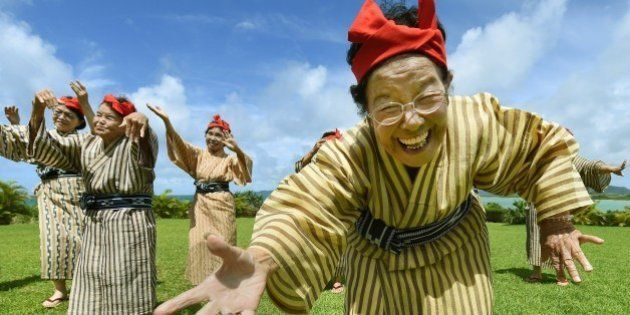 TO GO WITH AFP STORY BY ALASTAIR HIMMERIn this picture taken on June 22, 2015, an elderly women troupe...