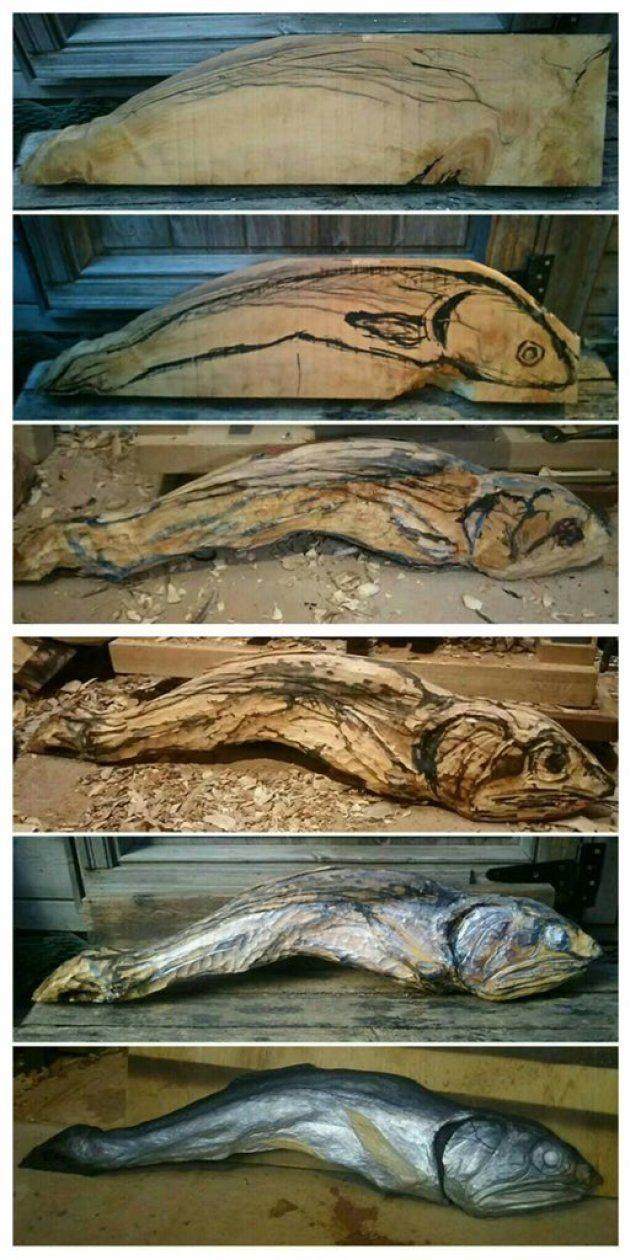 煮干しの彫刻ができる過程