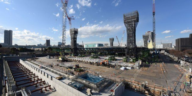 This picture shows a general view of the construction site for the Tokyo 2020 venue 'Olympic Aquatics...