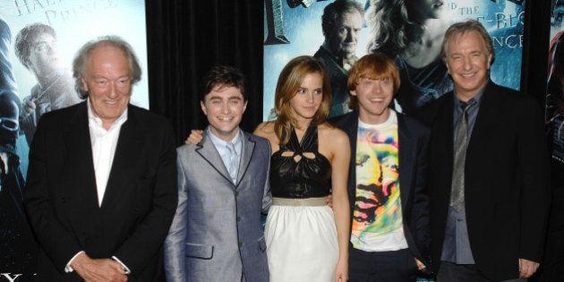 From left, actors Michael Gambon, Daniel Radcliffe, Emma Watson, Rupert Grint and Alan Rickman attend...