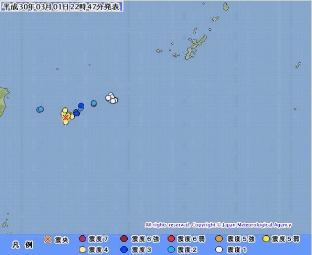 沖縄・西表島で震度5弱