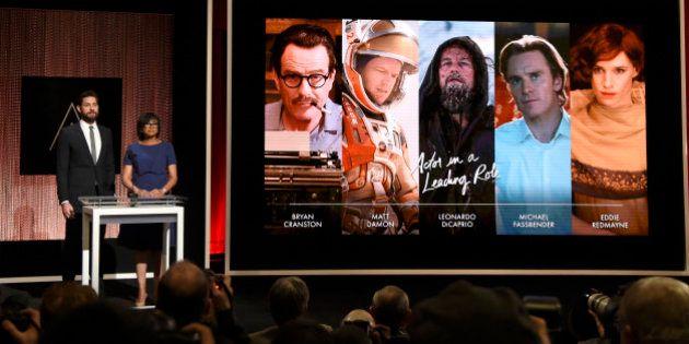John Krasinski, left, and Academy President Cheryl Boone Isaacs announce the Academy Awards nominations...