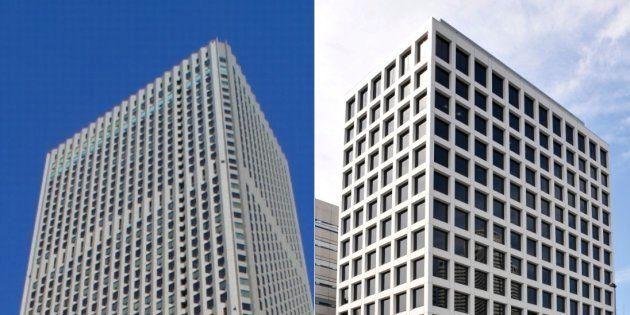 大成建設などが入る新宿センタービル(左)と鹿島建設本社ビル