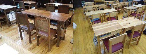 ●80年使っていた机と椅子(左)と、新調された机と椅子(右)