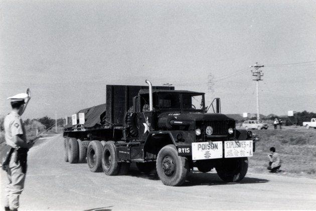 米軍の毒ガス移送(1971年)=読谷村提供