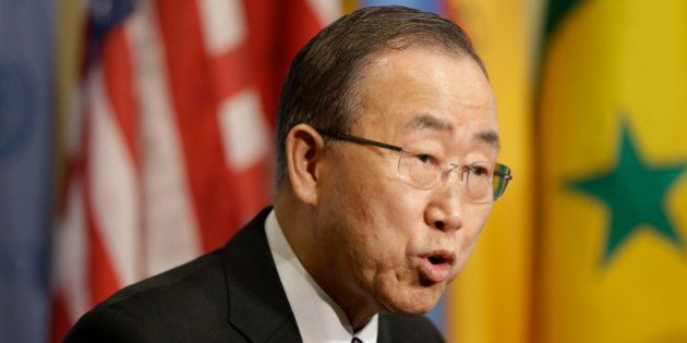 United Nations Secretary-General Ban Ki-moon speaks to reporters before a Security Council meeting at...