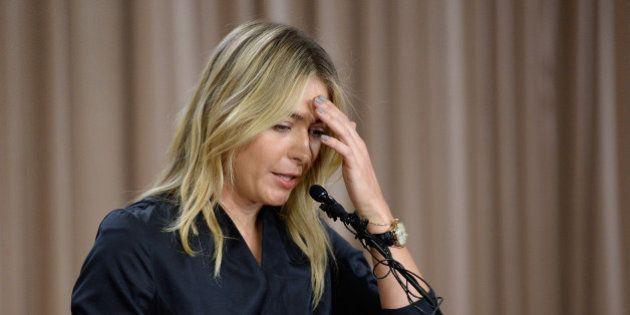LOS ANGELES, CA - MARCH 07: Tennis player Maria Sharapova addresses the media regarding a failed drug...