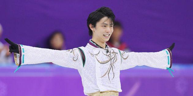 フィギュアスケート男子フリー。演技を終え、笑顔を見せる羽生結弦(=2月17日、韓国・江陵)[代表撮影]
