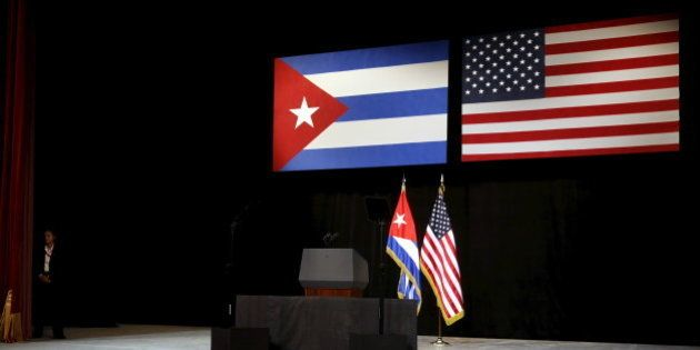 The stage is set with Cuban and U.S. flags beforefor U.S. President Barack Obama addresses the Cuban...