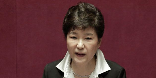 South Korean President Park Geun-hye delivers a speech at the National Assembly in Seoul, South Korea,...