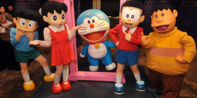 Doraemon (C), Japan's robot cat from the future, and the other characters of the popular manga strips...
