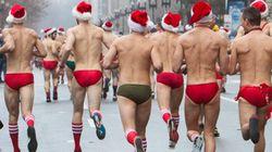 ボストン冬の風物詩、サンタ帽とスピード水着で高級ショッピング街を走る「サンタスピードラン」