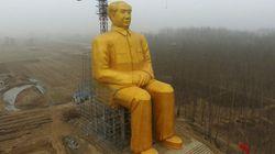 黄金の毛沢東像、突如解体。無許可建築だった?