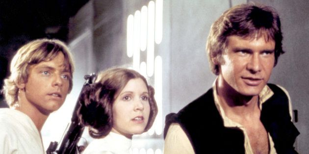 American actors Mark Hamill, Carrie Fisher and Harrison Ford on the set of Star Wars: Episode IV - A...