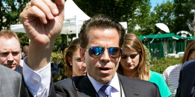 White House Communications Director Anthony Scaramucci talks to the media outside the White House in...