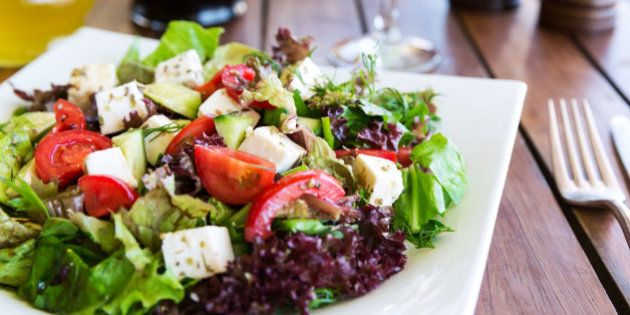 Greek Mediterranean salad with feta cheese, tomatoes and peppers. Mediterranean salad. Mediterranean...