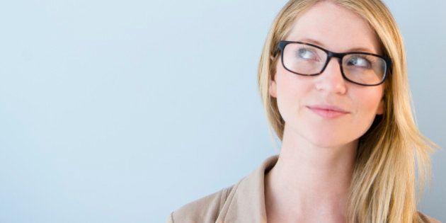 Woman wearing glasses looking