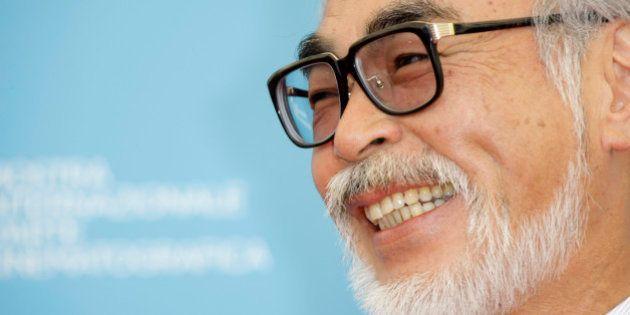 Filmmaker Hayao Miyazaki poses at the photo call for the movie 'Gake No Ue No Ponyo' at the 65th edition...