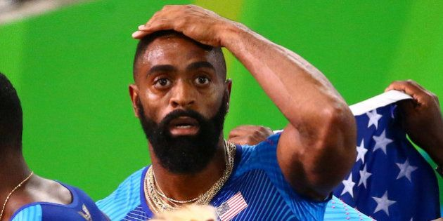 Tyson Gay of USA reacts after his men's 4 X 100m relay was disqualified in the final at the 2016 Rio...