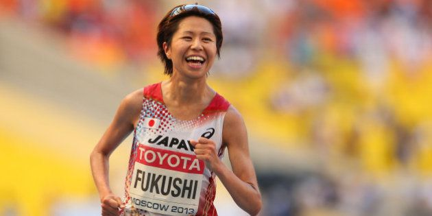 MOSCOW, RUSSIA - AUGUST 10: Kayoko Fukushi of Japan smiles as she crosses the line to win bronze in the...