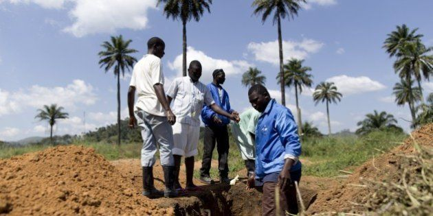 Health workers from Guinea's Red cross wearing Personal Protective Equipments (PPE) prepare to bury bodies...