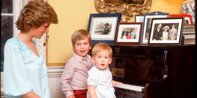 LONDON, UNITED KINGDOM - OCTOBER 04: Princess Diana With Prince William And Prince Henry [harry] On The...