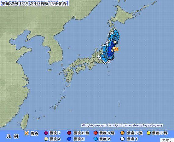 【地震情報】福島、宮城で震度4 津波の心配なし