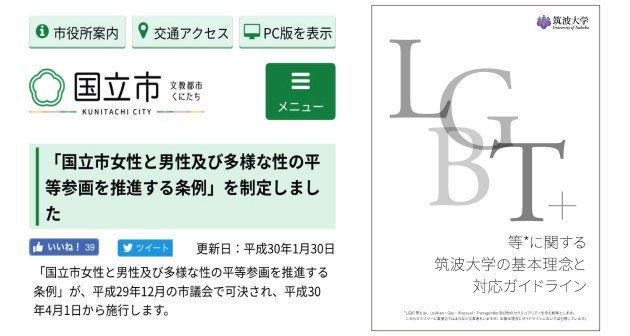 国立市WEBサイト/筑波大学「LGBT等に関する筑波大学の基本理念と対応ガイドライン」より