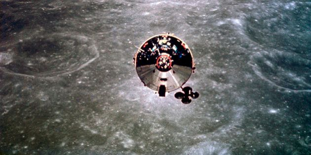 UNITED STATES - MAY 30: The Apollo 10 Command and Service Module is shown in orbit over the far side...