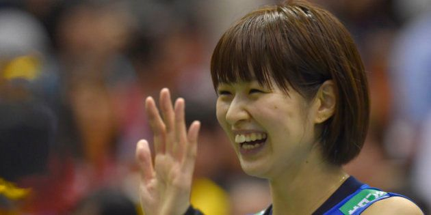 TOKYO, JAPAN - MAY 22: Saori Kimura #3 of Japan waves for fans after winning the Women's World Olympic...