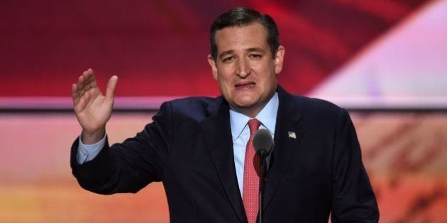 US Senator Ted Cruz of Texas speaks on the third day of the Republican National Convention in Cleveland,...