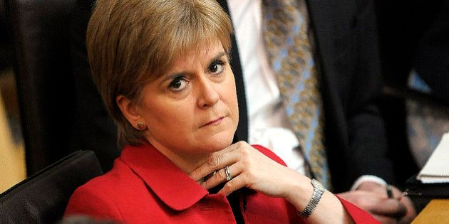 Scotland's First Minister Nicola Sturgeon listens in the chamber on the second day of the 'Scotland's...