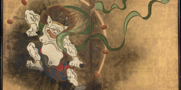 The Thunder God. Left part of two-fold screens Wind God and Thunder God, Early 18th cen.. Found in the...