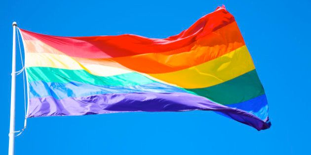 Rainbow flag at Harvey Milk Plaza, San Francisco,