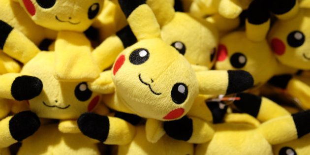 Pikachu plush toys are displayed for sale at the Pokemon Center Mega Tokyo store in Tokyo, Japan, on...