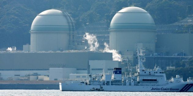 This picture taken on February 26, 2016 shows Kansai Electric Power's number 3 (L) and number 4 (R) reactors...