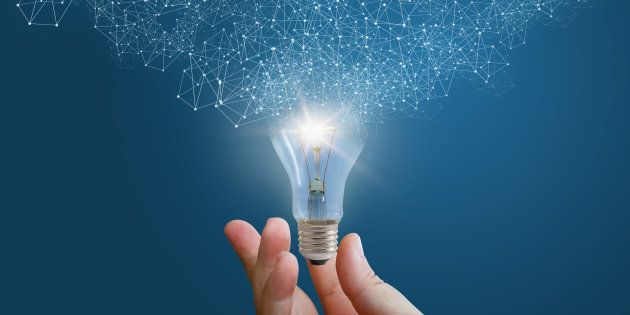 Innovative idea in businessman hand concept