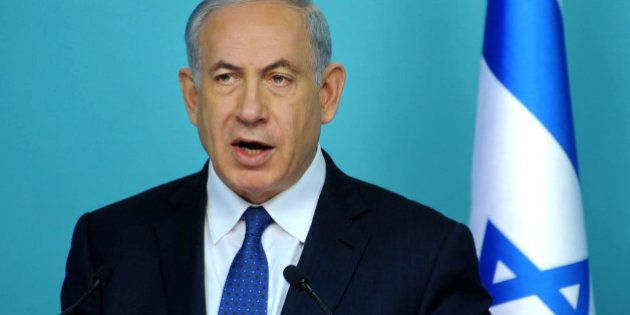 Israel's Prime Minister Benjamin Netanyahu makes statements during a press conference at the prime minister's...