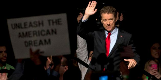 Sen. Rand Paul, R-Ky. waves as he arrives to announce the start of his presidential campaign, Tuesday,...