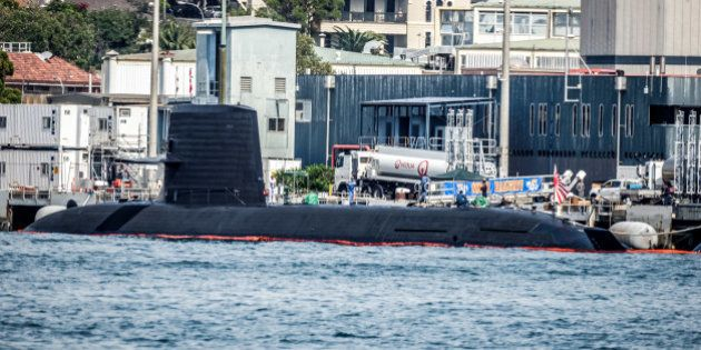 GARDEN ISLAND, SYDNEY, NSW, AUSTRALIA - 2016/04/16: The Japanese Soryu-class submarine JS Hakuryu and...