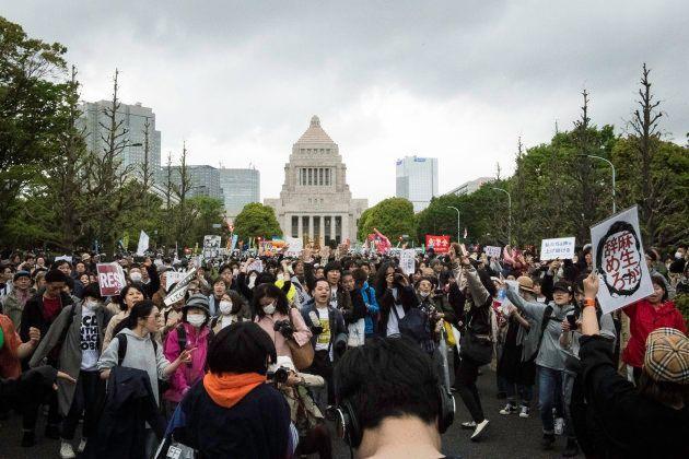 国会前での抗議集会(2018年4月14日)